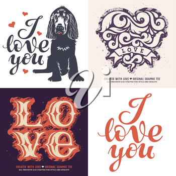 Love t-shirt graphic designs / Set of four romantic prints /  Graphic Tee / Handmade typography