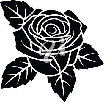 Rose silhouette isolated on white background. Use for fabric design, tattoo, pattern and decorating greeting cards, invitations
