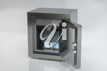 The small house model in the safe box, 3d rendering. Computer digital drawing.
