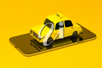 Mini 3D taxi, mini car with a mobile phone, 3d rendering. Computer digital drawing.