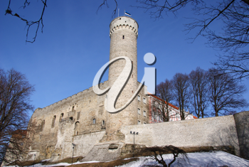 Royalty Free Photo of a Tower and Walls of Tallinn