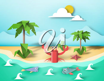 Paper Origami Fish, Crab, Creative Elements, Artistic Summer Composition, Cut Landscape World, Amazing Made Template with Style Symbols for Banner, Card, Poster, Eps10 Vector Illustration - Vector