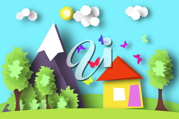 Village Scene Paper World. Rural Life with Cut Butterflies, House, Tree, Cloud, Sun. Colorful Crafted Countryside. Summer Landscape. Cutout Applique. Hanging Elements. Vector Illustrations Art Design.