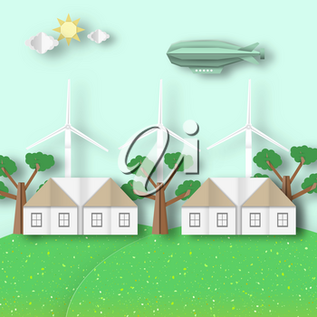 Cutout Trend, Papercut Style. Paper Origami Landscape Ecology Environment and Conservation. Carve House, Wind Mill, Dirigible, Tree, Cloud, Sun. Cut Backdrop. Vector Graphics Illustrations Art Design.