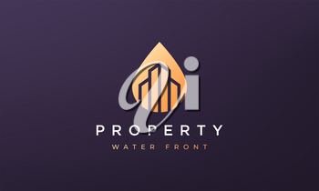 abstract property and water logo concept in a minimal and modern style