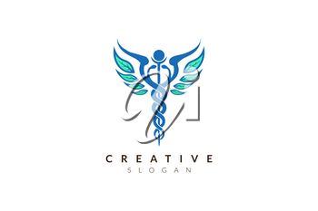 Vector design Symbol of world medical health with leaves as wings.