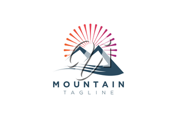 Mountain vector design with the sun in a minimalist and simple shape.