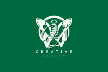 Logo design of the pelvis with a butterfly shape. Minimalist and modern vector illustration design suitable for business or healthcare brands.