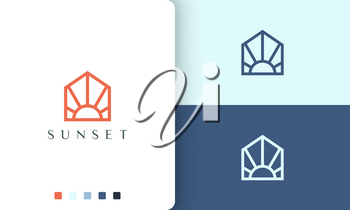 sun or home logo in minimalist mono line and modern style