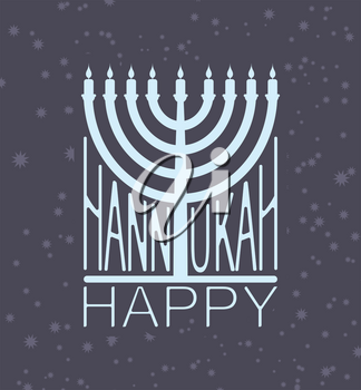Hanukkah logo Menorah emblem for Jewish holiday. Traditional religious candelabrum. Israel is celebration. Vector illustration