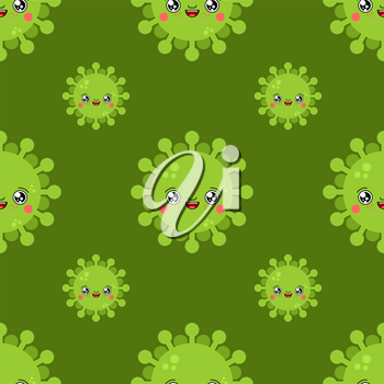 Virus kawaii Cute cartoon pattern. Funny Infection background. Sweet microbe Bacterium vector texture