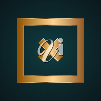 Rectangle close sign icon vector. Gradient gold metal with dark background