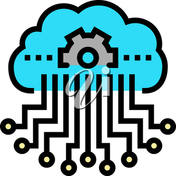 cloud storage and working process neural network color icon vector. cloud storage and working process neural network sign. isolated symbol illustration