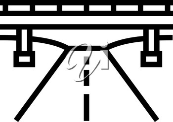 road and bridge line icon vector. road and bridge sign. isolated contour symbol black illustration