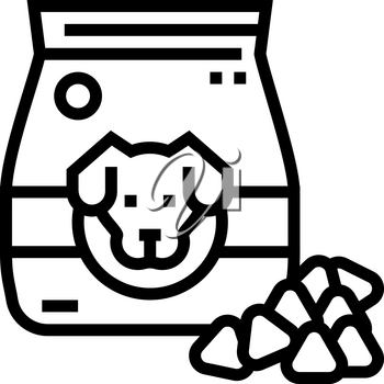 dry food for dog line icon vector. dry food for dog sign. isolated contour symbol black illustration
