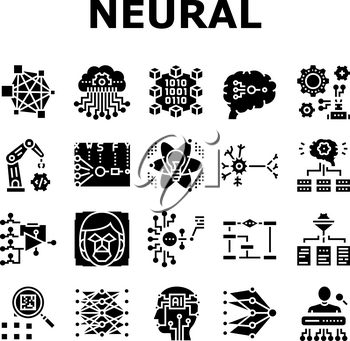 Neural Network And Ai Collection Icons Set Vector. Biological And Binary Neural Network, Mathematical And Artificial Model, Algorithm And Learn Glyph Pictograms Black Illustrations