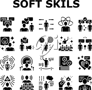 Soft Skills People Collection Icons Set Vector. Creativity And Decision Making, Understanding Body Language And Learning, Soft Skills Glyph Pictograms Black Illustrations