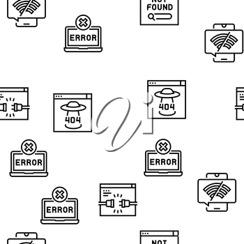 Not Found Web Page Vector Seamless Pattern Thin Line Illustration