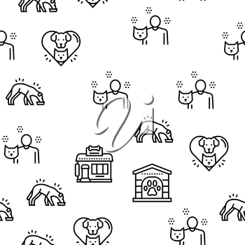 Animal Pet Shelter Vector Seamless Pattern Thin Line Illustration