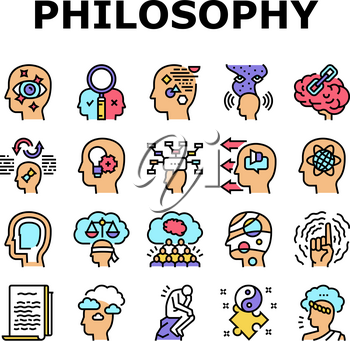 Philosophy Science Collection Icons Set Vector. Social Philosophy And Logic, Aesthetics And Ethics, Metaphilosophy And Epistemology Concept Linear Pictograms. Contour Color Illustrations