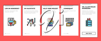 Analyze Infographic Onboarding Mobile App Page Screen Vector. Analyze And Research Market Diagram, Binary Code And Report On Computer Display Illustrations