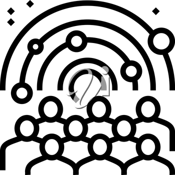 visiters watching on galaxy planets in planetarium line icon vector. visiters watching on galaxy planets in planetarium sign. isolated contour symbol black illustration