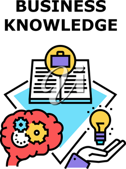 Business Knowledge Process Vector Icon Concept. Business Knowledge Process For Create Company Startup, Reading Book For Search Innovation Idea And Read Instruction Color Illustration