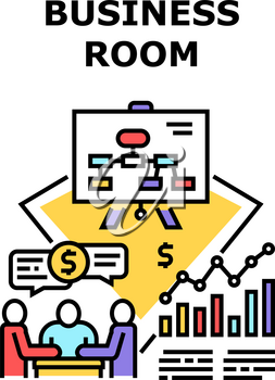 Business Room Vector Icon Concept. Business Room For Discussing With Employee Or Partner, Conference Startup Presentation Or Researching Annual Company Achievement Color Illustration