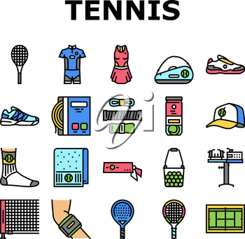 Tennis Sport Game Competition Icons Set Vector. Women And Men Tennis Apparel Clothes, Racquet And Ball Accessories, Court Playground And Net, Headband And Socks Line. Color Illustrations