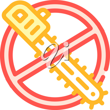 stop deforestation, crossed out chainsaw color icon vector. stop deforestation, crossed out chainsaw sign. isolated symbol illustration