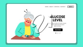 Glucose Level In Blood Checking Grandmother Vector. Woman Senior Examining Glucose Level With Glucometer Medical Gadget. Character Elderly Lady With Medicine Device Web Flat Cartoon Illustration