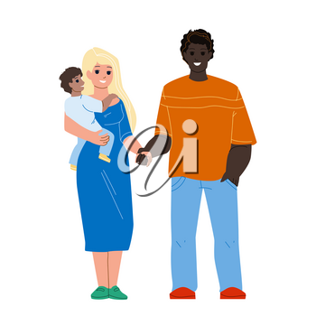 Happiness Mixed Family Standing Together Vector. African Man Husband, Caucasian Woman Wife And Child, Happy Multiracial Family. Characters Father, Mother And Son Kid Flat Cartoon Illustration
