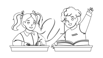 Pupils Boy And Girl Studying At School Desk Black Line Pencil Drawing Vector. Schoolboy Raise Hand For Answering On Question And Schoolgirl Writing In Notebook With Pen, Pupils Study. Illustration