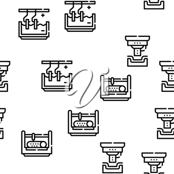 Metal Working Industry Vector Seamless Pattern Thin Line Illustration