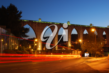 Royalty Free Photo of an Aqueduct in Lisbon, Portugal
