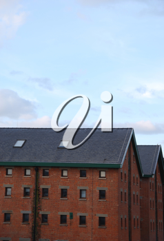 Royalty Free Photo of a Gloucester Docks With Typical Warehouse Buildings, United Kingdom
