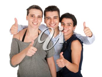 Royalty Free Photo of Smiling Brother and Sisters Showing Thumbs Up