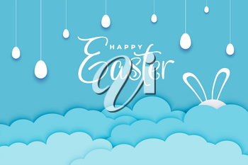 easter day banner in paper style and blue color
