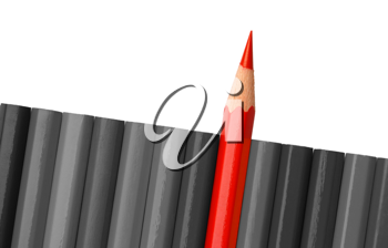 Royalty Free Photo of a Single Red Pencil Crayon on Grey