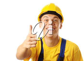 Royalty Free Photo of a Construction Worker Giving Thumbs Up