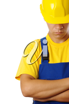 Royalty Free Photo of a Man in a Hardhat With His Head Down