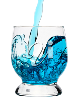 Royalty Free Photo of a Blue Liquid Being Poured Into a Glass