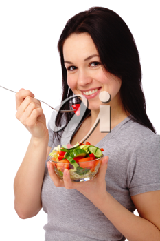 Royalty Free Photo of a Woman Eating a Salad