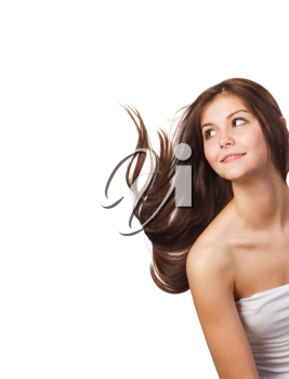 Pretty young woman with streaming hair isolated on white background