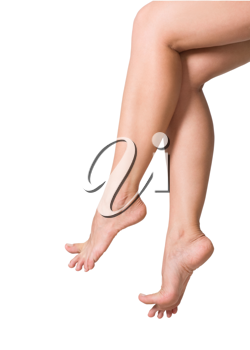 image of smooth,sexy and beautiful female legs isolated on white