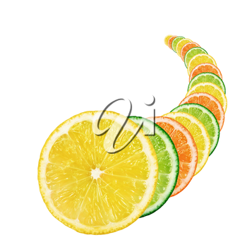 Slices of fresh citrus fruit in the form of a cornucopia on white background