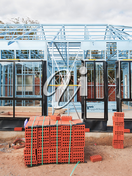 New home under construction using steel frames