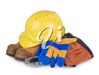 Safety industrial and construction equipment  isolated on white background