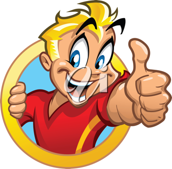 Royalty Free Clipart Image of a Boy in a Circle Banner Giving a Thumbs Up