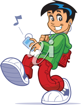 Royalty Free Clipart Image of a Kid Listening to Music